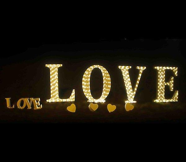 Letras gigantes iluminadas para bodas - Palabra Love iluminada para bodas